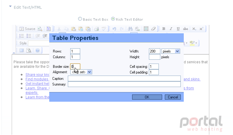 How to work with tables and format text in DotNetNuke